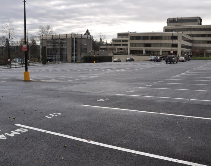 Burnaby parking lot paving project in deer lake
