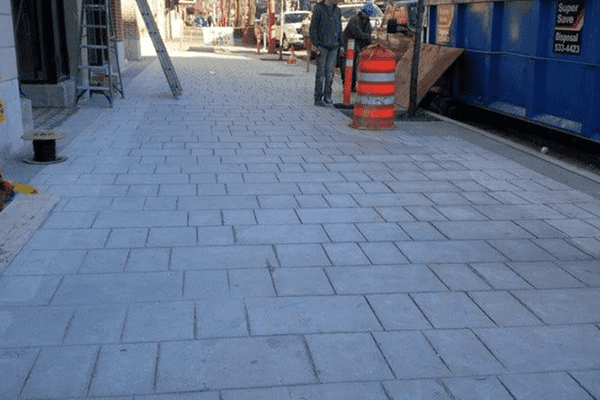 A finished concrete flat sidewalk project in Vancouver